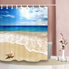 Blue sky seashell beach style Bathroom Shower Curtain Fabric w/12 Hooks 71*71in