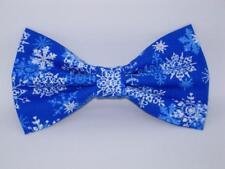 Christmas Bow Tie / White Snowflakes on Blue / Winter Snow / Pre-tied Bow tie