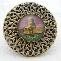 Vintage Gold Tone Filigree Washington DC Glass Dome Souvenir Pin Brooch