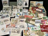 Antique Vintage Lot 50+Greeting Cards~Postcard Books~Ephemera Card Fronts Crafts