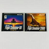Microsoft FLIGHT SIMULATOR 1998 & 2000 PC CD-ROM Lot of 2 Computer Games COMPLET