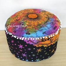 "24"" Large Zodiac Mandala Pouf Cover Cotton Round Ottoman Decorative Pouf Covers"