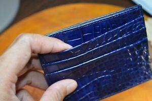NAVY BLUE GENUINE CROCODILE / ALLIGATOR LEATHER CARD HOLDER, CREDIT CARDS
