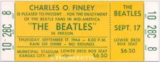 1  BEATLES VINTAGE UNUSED FULL CONCERT TICKET 1964 Kansas City, MO laminated yel