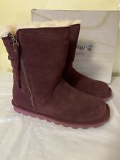 BEARPAW Lindsay Suede Quilted Boot with NeverWet  Size 10