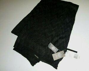 vince camuto Chevron Pointelle Knit Blanket scarf designer knit acrylic -black