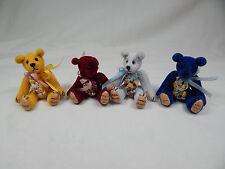 """World Of Miniature Bears Dollhouse Miniature 2.5"""" Plush Bear 4 Pcs  #599 LOT-B"""
