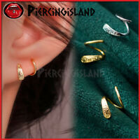 925 Sterling Silver Gold GP Filigree Duo Twist Minimalist Hoop Earring Piercing