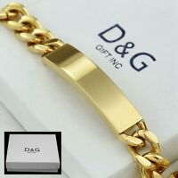 "DG Men's 8.5"" Gold Stainless Steel 12mm Cuban Curb Chain ID Bracelet + Box"