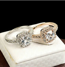 Women's 18K White / Rose Gold Plated BIG Crystal Engagement Ring Gift Size 6 -10