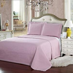 Luxury Checkered Quilted Coverlets Wrinkle Free 2-3 Pieces Coverlet Set