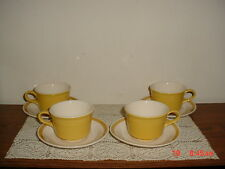 "8-PIECE ROYAL CHINA ""CAVALIER"" COFFEE CUPS & SAUCERS/USA/YEL-WHITE/FREE SHIP!"