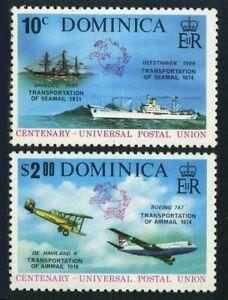 Dominica 418-419,419a,MNH.Michel 417-418,Bl.38. UPU-100,1974.Seamail,Airmail.