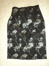 DESIGNER DANA BUCMAN BLACK TAPESTRY FLORAL STRETCHY PENCIL SKIRT XS 6