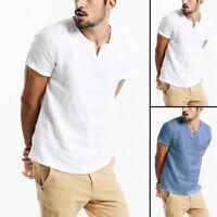 Summer Men's Tops Linen Short Sleeve V Neck Casual Loose Shirts Holiday Blouse