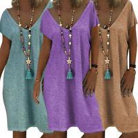Women Loose V Neck Short Sleeve T Shirt Dress Solid Casual Summer Mini Dress USA