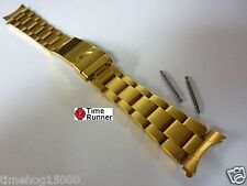 Oyster Style Solid Gold Tone Men's Watch Band Bracelet 20 mm