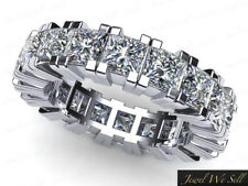 Natural 3.90Ct Diamante Boda Eternidad Anillo de Banda 18Ct Oro Blanco F VS2