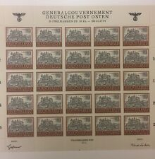 Third Reich Stamps - Full Sheet General Government 25 Stamps