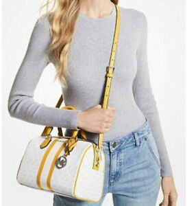 🌺 NWT Michael Kors Bedford Small Logo Yellow Stripe Bright White Satchel Bag