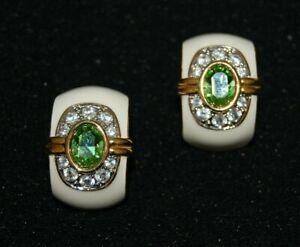 ELEGANT KJL KENNETH JAY LANE COUTURE WHITE ENAMEL & GREEN CRYSTAL CLIP EARRINGS
