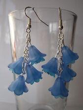 Long Drop / Dangle Earrings - Fuschia / Bluebell Cluster - Blue / Turquoise