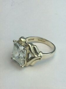 SOLID SILVER Ring Shaped with Square CLEAR Stone 925 Hall Marked Size UK R