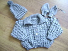 "New Hand Knitted Grey/Silver Jacket Mittens and Matching Hat 24/26"" chest"