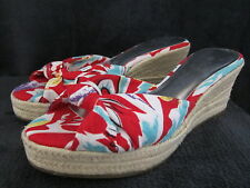 JESSICA SIMPSON Womens Daria Red Maui Print Open Toe Wedges Shoes US 8.5 M NWOB