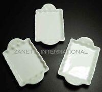 Set of 3 Dollhouse Miniature Ceramic Trays / Plates *Doll Mini Food White Dishes