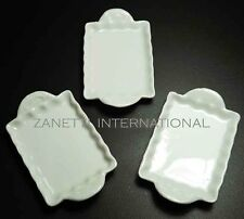 Set of 3 Dollhouse Miniature Ceramic Trays / Plates *Doll Mini Food White Dishes