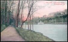 POTTSTOWN PA Sanatoga Park Lake Prelinen Postcard Early Vtg River Walk PC