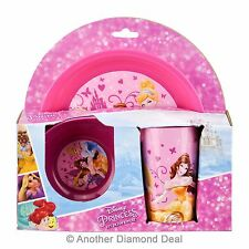 Disney Princess 3pc Breakfast Children Lunch Set Plastic Picnic Dining Pink Girl