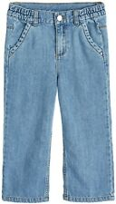 NEXT Girls Wide Leg JEANS Distressed Ankle Grazer Trousers BLUE | 3 9 10 Years