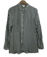 J Jill Women's Size S Shirt Tunic Long Sleeve Button Front Plaid Black and White
