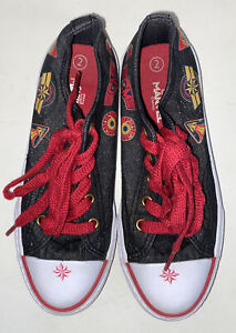 Captain Marvel Canvas Youth Girls Shoes Size 2 Sneakers Red