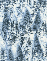 Christmas Fabric - Winter Snow-Covered Trees Blue - Timeless Treasures YARD