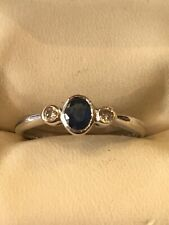 9ct White Gold Oval Sapphire And Diamond Ring Size N