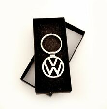 VOLKSWAGEN VW Silver Key chain key ring stainless comes with Black Box
