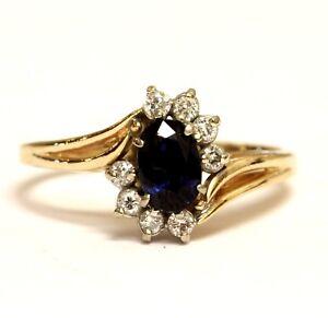 14k yellow gold .16ct SI1 H diamond created sapphire gemstone band ring 2.8g