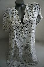 Damen Yessica Tunika Bluse transparent schwarz Weiß gr  40
