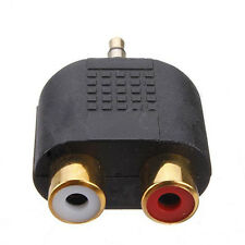 New 1pc Gold Plated stereo Audio male Plug to 2 RCA female jack Y 3.5mm Adapter