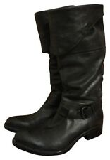 Moma Italy Fold Over Black Leather Buckled Strap Equestrian Riding Boots 8.5 9