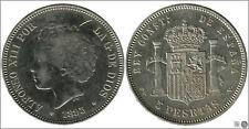 España 5 pesetas 1893 (*18*93) PGV Ag BC+ / MBC Alfonso XIII 00149