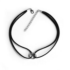 Circle Round Charm Pendant Choker Necklace with Black Velvet Cord Retro Gothic