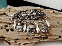 Vintage STEVE STAMAS Sterling Silver 925 Charm Buddha Sun Face Dangle Pin Brooch