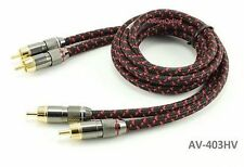 3ft Premium Pro 2-Rca Male to Male Gold-Plated Flexible Woven Audio Cable