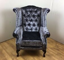 Queen Anne style chair in Lavender Crushed Velvet