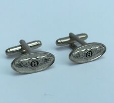 Bentley Car Oval Mens Metal Cufflinks in gift box - silver colour