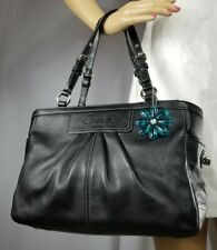 108afbbc05 Coach East West Gallery Black Pleated Leather Shoulder Handbag F13759 purse  tote